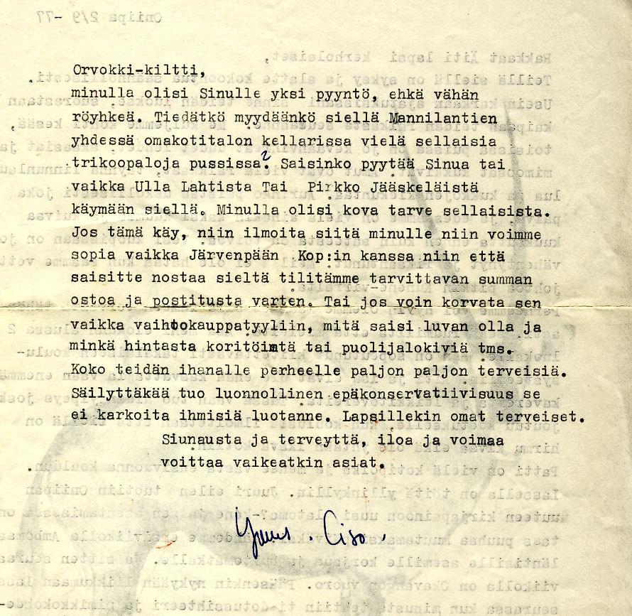 Cison kirje syyskuussa 1977